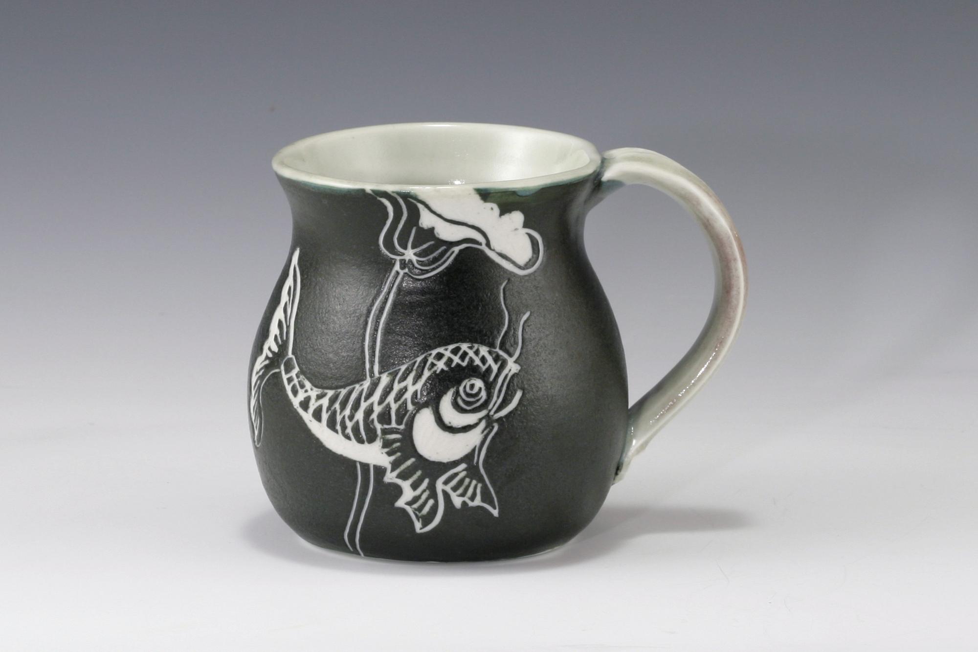 Carved Porcelain Mug Egg Ball The Rochester Folk Art Guild